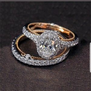 Size 5 engagement & wedding ring gold plated gem